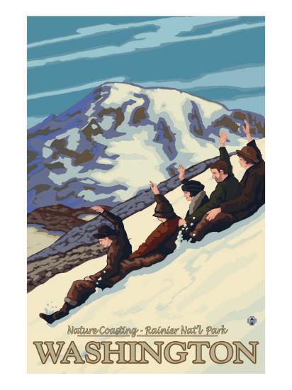 Nature Coasting, Mt. Rainier National Park, Washington-Lantern Press-Art Print