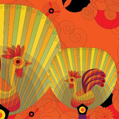 Nature Fan, Rooster Color-Bel?n Mena-Giclee Print