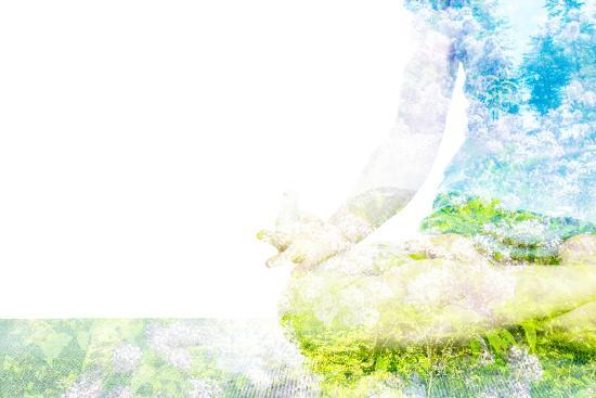 Nature Harmony Healthy Lifestyle Concept - Double Exposure Clouse up Image of Woman Doing Yoga Asa-f9photos-Photographic Print