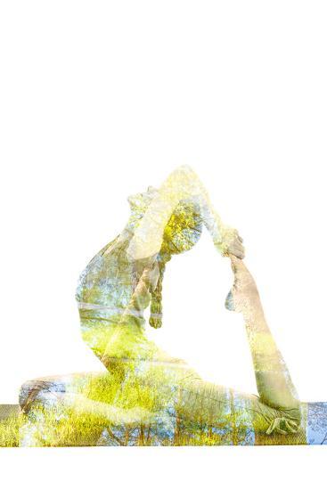Nature Harmony Healthy Lifestyle Concept - Double Exposure Image of Woman Doing Yoga Asana King Pig-f9photos-Photographic Print