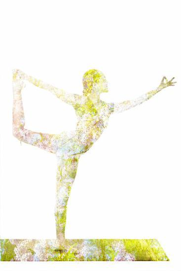 Nature Harmony Healthy Lifestyle Concept - Double Exposure Image of Woman Doing Yoga Asana Lord Of-f9photos-Photographic Print