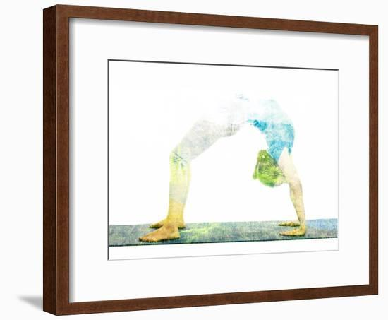 Nature Harmony Healthy Lifestyle Concept - Double Exposure Image of Woman Doing Yoga Asana Upward B-f9photos-Framed Photographic Print