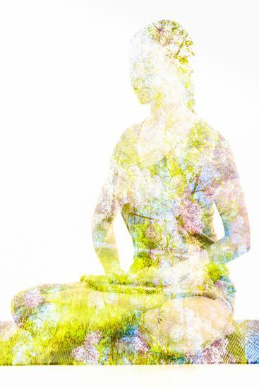 Nature Harmony Healthy Lifestyle Concept - Double Exposure Image of Woman Doing Yoga Lotus Position-f9photos-Photographic Print