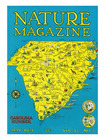 Nature Magazine - Detailed Map of North and South Carolina States with Scenic Spots to Visit-Lantern Press-Art Print