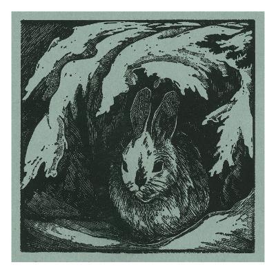 Nature Magazine - View of a Bunny under a Snowy Branch, c.1940-Lantern Press-Art Print