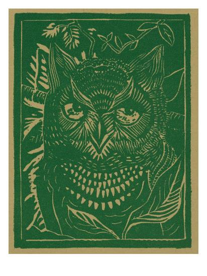 Nature Magazine - View of a Horned Owl in the Bushes, c.1941-Lantern Press-Art Print