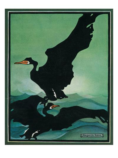 Nature Magazine - View of a Pair of Black Swans in Flight, c.1931-Lantern Press-Art Print