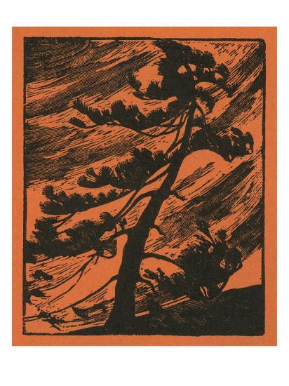 Nature Magazine - View of a Tree Being Thrashed in a Wind Storm, c.1940-Lantern Press-Art Print