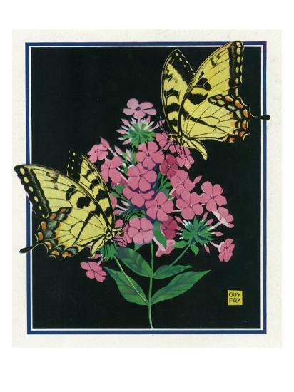 Nature Magazine - View of Butterflies on Blooming Flowers, c.1934-Lantern Press-Art Print