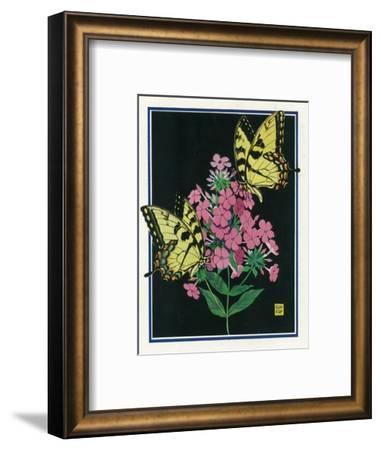 Nature Magazine - View of Butterflies on Blooming Flowers, c.1934-Lantern Press-Framed Art Print