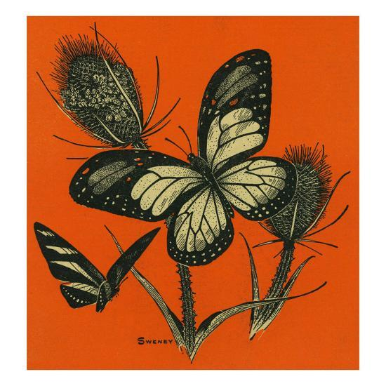 Nature Magazine - View of Butterflies on Thistles, c.1949-Lantern Press-Art Print
