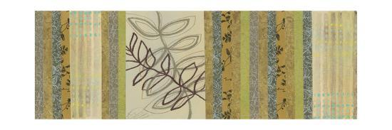 Nature's Song I - Green Stripes with Leaves-Jeni Lee-Premium Giclee Print