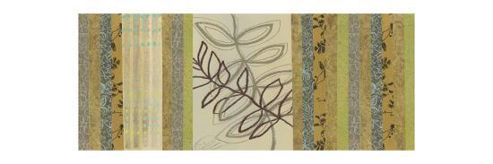 Nature's Song I - mini - Green Stripes with Leaves-Jeni Lee-Premium Giclee Print
