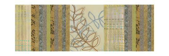Nature's Song II - Green Stripes with Leaves-Jeni Lee-Premium Giclee Print