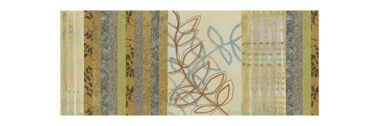 Nature's Song II - mini - Green Stripes with Leaves-Jeni Lee-Premium Giclee Print