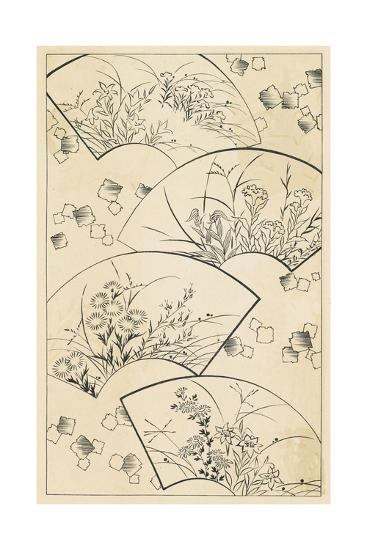 Nature Scenes Illustrated on Fan Shapes--Art Print