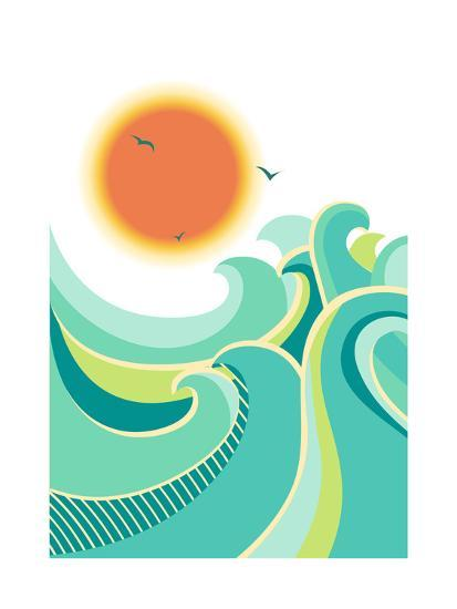 Nature Seascape Poster Background with Sunlight.Vector Color Illustration-Tancha-Art Print