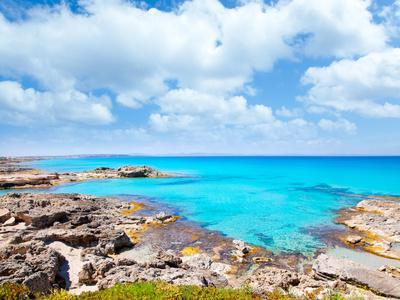 Balearic Formentera Island in Escalo Rocky Beach and Turquoise Sea
