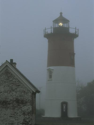 Nauset Lighthouse Standing Guard in Thick Fog-Darlyne A^ Murawski-Photographic Print