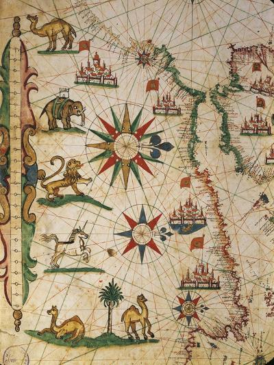 Nautical Chart of Northern Africa with Depiction of Animals and Wind Rose-Pietro Giovanni Prunus-Giclee Print
