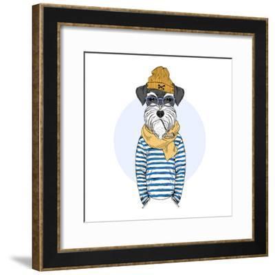 Nautical Schnauzer Dog Sailor-Olga_Angelloz-Framed Premium Giclee Print