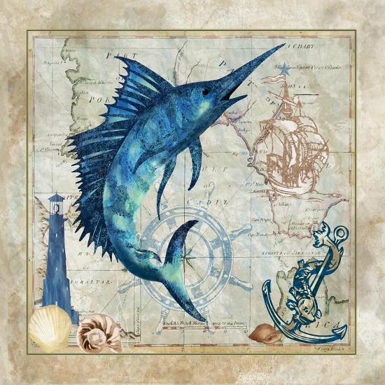 Nautical Swordfish-Jill Meyer-Art Print