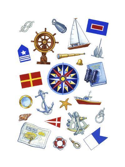 Nautical Theme Icons-Geraldine Aikman-Giclee Print