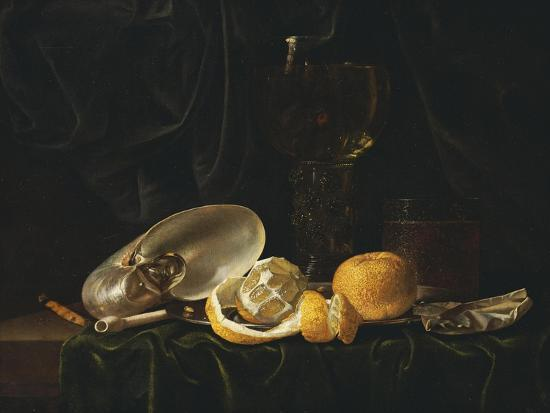 Nautilus Shell, a Roemer Beer Glass, an Orange and a Lemon on a Pewter Plate-Christiaen Luyckx-Giclee Print