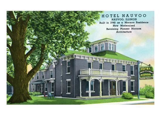 Nauvoo, Illinois, Exterior View of the Hotel Nauvoo-Lantern Press-Art Print