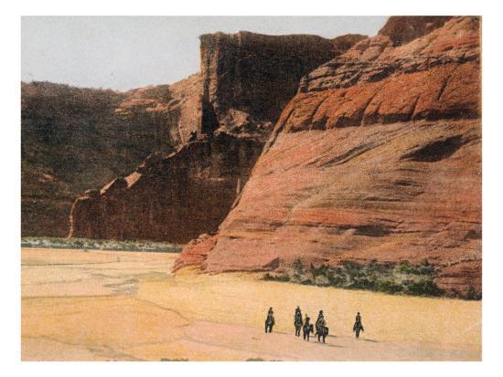 Navajo Horsemen in Canyon De Chelly Arizona--Giclee Print