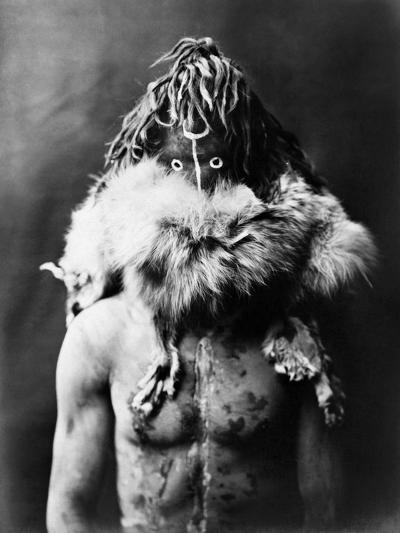 Navajo Mask, C1905-Edward S^ Curtis-Photographic Print