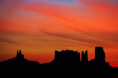 Navajo Nation, Monument Valley, Sunrise over Mitten Rock Formations-David Wall-Photographic Print
