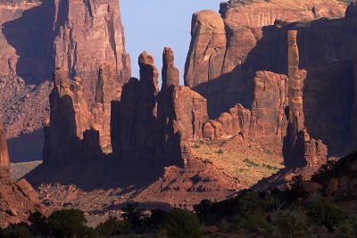 Navajo Nation, Monument Valley, Yei Bi Chei and Totem Pole Rock Column-David Wall-Photographic Print