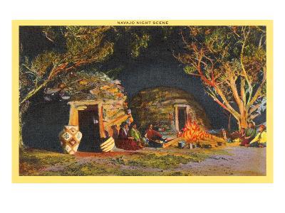 Navajo Night Scene--Art Print