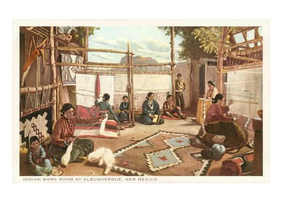 Navajo Rug Weaving Albuquerque New Mexico Art Print By Com