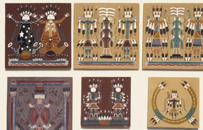 Navajo Sand Paintings on Tiles Displayed for Sale at the Intertribal Indian Ceremonial in Gallup