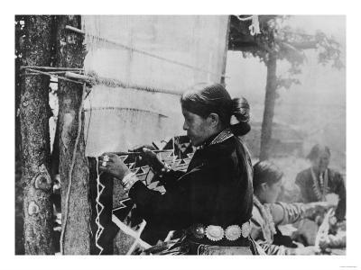 Navajo Woman Weaving a Blanket Photograph-Lantern Press-Art Print
