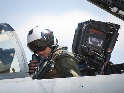 Naval Aviator Performs Pre-Flight Checks on an F-A-18C Hornet--Photographic Print