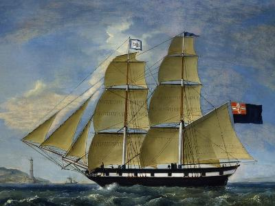 Naval Barquentine from Kingdom of Sardinia in Poplar Wood, Oil on Canvas--Giclee Print