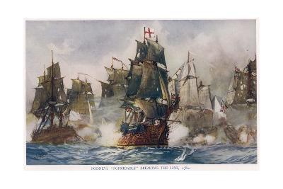 Naval Battle 1782-Charles Dixon-Giclee Print