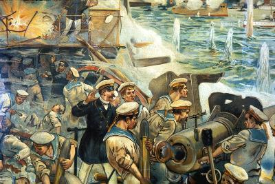 Naval Battle Between Russian and Japanese Fleets, Russo-Japanese War, 1904-5--Giclee Print