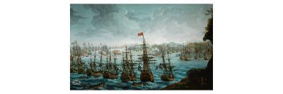 Naval battle between Russian and Swedish Fleet in Baltic Sea--Giclee Print