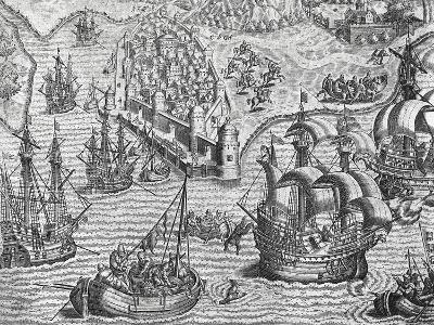 Naval Battle, Engraving from American History by Theodore De Bry--Giclee Print