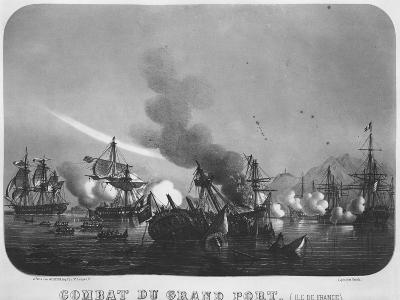 Naval Battle of Grand Port, Mauritius, in 1810-Louis Le Breton-Giclee Print