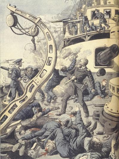 Naval Battle on Russian Battleship Tsesarevitch During Russo-Japanese War of 1904-1905--Giclee Print