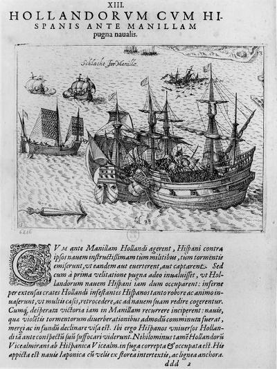Naval Combat Between the Dutch and the Spanish Off the Coast of Manila--Giclee Print