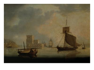 Naval Cutter by Belem Tower at the Mouth of the Tagus-William Anderson-Giclee Print