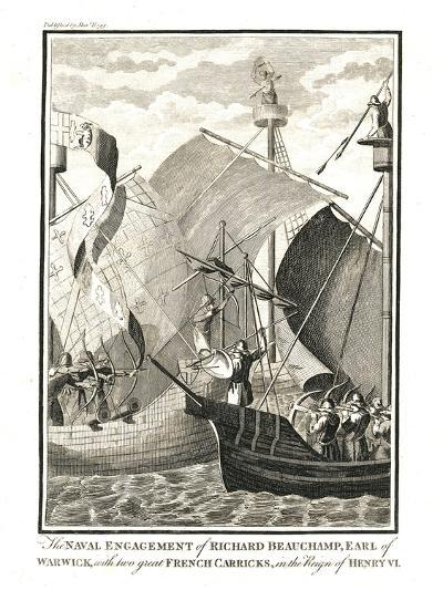 Naval Engagement Against Two Great French Carricks by Richard Beauchamp Earl of Warwick--Giclee Print