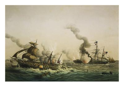Naval Engagement Between the U.S.S. Kearsarge and the Confederate sea raider Alabama-Lt-Col Lebreton-Giclee Print