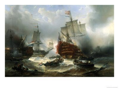 Naval Engagement-Francois Musin-Giclee Print